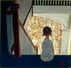 Little Girl Looking Downstairs at Christmas Party, Norman Rockwell