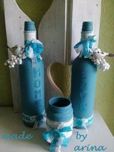 a project with gesso, empty wine bottles by Fran Vochoska
