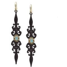 Armenta Black Diamond & Turquoise Double-Dagger Drop Earrings ($1,362) ❤ liked on Polyvore featuring jewelry, earrings, no color, turquoise drop earrings, green turquoise jewelry, bezel set earrings, black diamond earrings and blue earrings