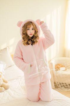 960b707642 White Pink Kawaii Fleece Homewear Pajamas Set SP178797 in 2019