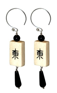 Mahjong tile earrings with black onyx teardrop by CallahansPlanet, $15.00