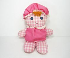 """Fisher Price Vintage Toys 1975   Vintage Fisher Price Doll Lolly 1975 Pink Gingham Rattle Toy ... vintage toys   Paint this picture for new """"Vintage Toys"""" Series"""