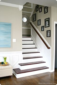Thrifty Decor Chick: The days of our stairs Attic Renovation, Attic Remodel, Staircase Remodel, Wood Staircase, Stairwell Wall, Wall Railing, White Staircase, Attic Staircase, Stair Handrail