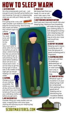 How to sleep warm while camping. This would have been nice to know when it dipped into the 30's on the spring scouting trip