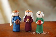 Clay Wisemen - This is a great project to do over several months.have each class make the nativity set. Nativity Ornaments, Nativity Crafts, Clay Ornaments, Christmas Nativity, Kids Christmas, Christmas Ornaments, Nativity Sets, Christmas Things, Homemade Ornaments