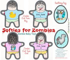 evil zombie twins fabric by connielou on Spoonflower - custom fabric