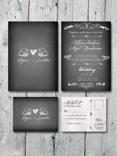 Digital - Printable - Little Lovely Birds Wedding Invitation and Reply Card Set - Wedding Stationery. $35.00, via Etsy.