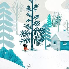 WEBSTA @ iamjohnbond - My illustration for Day 7 of #Advent25 Animated by the awesome dudes @buffmotion❄️❄️❄️#advent #adventcalendar #gif #festive #winter #snow #snowy #whitechristmas #woodland #christmas #xmas #tree #trees #blue #colour #logcabin #illustration #drawing #characterdesign #animated #instaart #instamood #creative #design #collaboration #adobe #aftereffects #photoshop