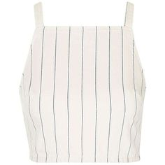 Topshop Stripe Denim Crop Top (2.870 RUB) ❤ liked on Polyvore featuring tops, crop tops, shirts, tank tops, crop shirt, cropped denim shirt, denim top, striped shirt and white shirts
