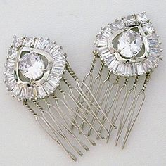 Cheryl King Couture Bridal Hair Accessories. Art Deco CZ hair comb, versatile bridal hair piece & stunning for evening wear.