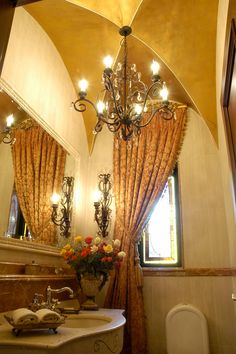 A contemporary home in Johannesburg, inspired by Classical Italian interior design and decoration. Sumptuous use of rich fabrics. Impressive chandelier in bathroom. Bathroom Chandelier, Italian Interior Design, Paint Techniques, Fabrics, Ceiling Lights, Interiors, Curtains, Contemporary, Inspired