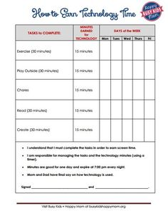 """Parenting the Connected Generation Are you sticking to the 2 hour per day of tech time for kids (ages Encourage Activities before Technology. """"How to Earn Technology Time"""" - Free Printable Chores For Kids, Activities For Kids, Parenting Advice, Kids And Parenting, Parenting Classes, Foster Parenting, Parenting Styles, Love And Logic, Kids Behavior"""