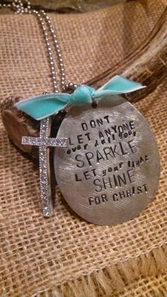 Items similar to NEW *Let your light shine for Christ* spoon necklace with rhinestone cross on Etsy Spoon Necklace, Spoon Jewelry, Cute Jewelry, Metal Jewelry, Jewelry Crafts, Dog Tag Necklace, Sinner Saved By Grace, Stamped Jewelry, Jewelry Stamping