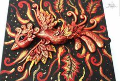 Phoenix bird treasure chest - phoenix sculpture - fire bird - flame - jewelry box - fantasy - magic box - phoenix feather - ooak figure - fimo art - hadmade - polymer clay - by GloriosaArt
