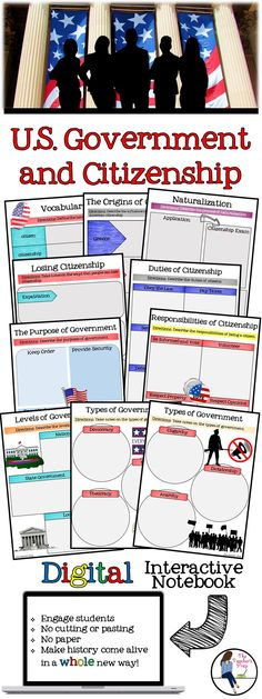 These digital pages for Google Drive are perfect for a Civics class!  #GoogleDrive #digitalinteractivenotebook #interactivenotebook #Civics #United States #government #middleschool #interactivenotebook #socialstudies