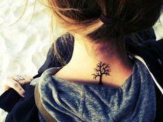 Small Tree Tattoo On Neck