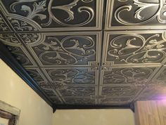 Nail Up Faux Tin Ceiling Tiles - What do you need to know about acoustic ceiling tiles as far as the reason why they're popu Drop Ceiling Tiles, Faux Tin Ceiling Tiles, Tin Tiles, Dropped Ceiling, Ceiling Decor, Ceiling Design, Ceiling Ideas, Ceiling Tiles Painted, Home Depot