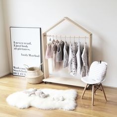 Super cute Scandinavian-inspired wardrobe for kids room. Show off their cute clothing or use for dress up when the kids get bigger.