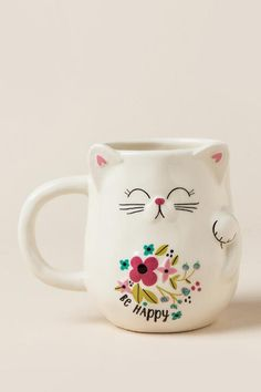 Be Happy Lucky Cat Shaped Mug- gift-cl