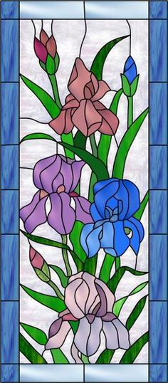 A light and dark blue border frames these lovely purple, blue, rust and violet iris flowers with their stems of green. A swirl of white stained glass color is the background for this sidelight flower design.