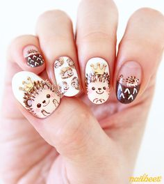 Nailbees: Hedgehogs. OMG THESE ARE SO CUTE!!!
