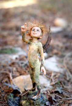 """Pixie Boy"" by Tatjana Raum, sculpture 6.7 inches without base."