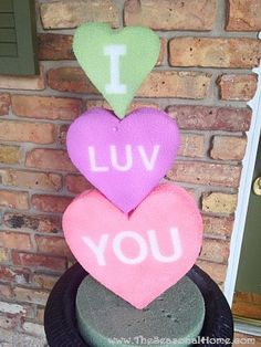 CONVERSATION HEART TOPIARY made with styrofoam