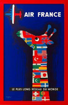 フランスの航空会社エールフランスのポスター。世界の国旗をまとったキリンが、エールフランスの到着を首を長くして待っています。