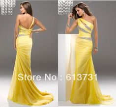 2014 Latest Fashion One Shoulder Mermaid Yellow Chiffon Floor-Length Long Evening Gowns Prom Weddings & Events Dresses