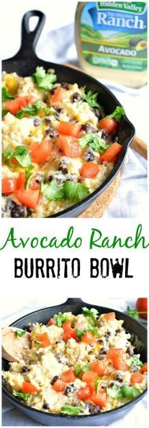Avocado Ranch Burrito Bowls.  A quick and easy meal that the whole family will love! #WhatsYourRanch #ad