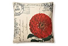 Inspiration piece of an image transfer project I like. French Zinnia 20x20 Pillow by THRO, creator Marlo Lorenz