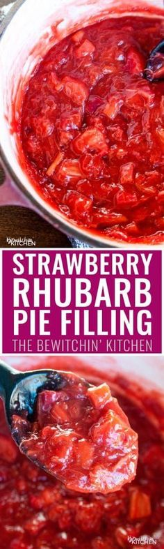 Strawberry rhubarb pie filling recipe. This simple recipe goes great in parfaits, turnovers and pie!