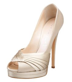 Maybe Nude? Casadei 3114 Satin Platform Peep-toe Pumps in champagne