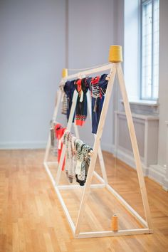 Byggstudio. Inventive clothing display. Good prop to replace a table in a craft fair booth