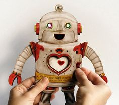 Robot Paper Toy Doll with personalized custom key card and blinking LED lights. Surprise techy gift for him or her!