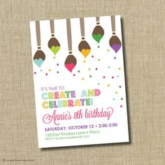 Painting Birthday Party Invitations Inspirational Paint Party Invitation Art Birthday Party by Brownpaperstudios Artist Birthday Party, Birthday Painting, 10th Birthday Parties, Birthday Party Themes, Painting Party Kids, Birthday Ideas, Themed Parties, Mouse Parties, House Painting