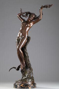 """Bronze Figural Sculpture """"La Vague"""" by Maurice MAIGNAN (1872-1946)"""