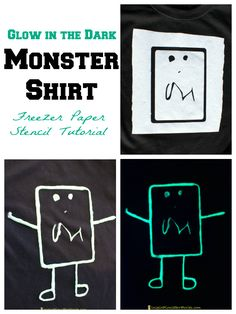 Glow in the Dark Monster Shirt Freezer Paper Stencil Tutorial sponsored by @ilovetocreate - such a fun way to turn your child's art into a shirt. Fun for Halloween or any time of the year!