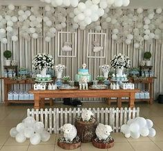 Create your perfect party with various decorations like the picture below!Choose from some of plain and themed birthday party decorations including banners, bunting, paper decorations, pom poms,baloon and more. Baby Girl Baptism, Baptism Party, Baby Shower Parties, Baby Shower Themes, Baby Showers, Candy Bar Bautizo, Birthday Party Decorations, Birthday Parties, Baby Dedication