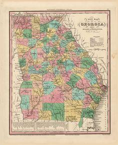 Georgia Old Map Tanner 1836 Digital Image Scan Download Printable - Old Map Downloads