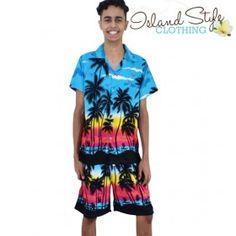 Turquoise Palms Mens Cabana Set boardies and matching hawaiian shirt. Party