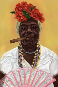 Digital painting #portrait #drawing #illustration #poster #card #cuba #cuban #woman #old #lady #cigar #smoke #smoking #flower #crown #ead #white #shirt #necklace