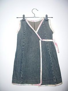 wrap around dress from old jeans-not crazy about the piping but love the concept!