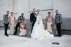 Bridal party in blush & grey Blush And Grey, Touch Of Gold, Special Day, Envy, Wedding Styles, Brides, Wedding Dresses, Party, Fashion