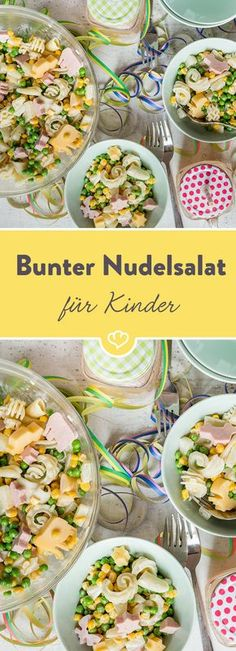 Bunter Nudelsalat mit Erbsen, Mais, Ananas, Mayo und Fleischwurst in lustigen Motiven stillt unbändigen Zwergenhunger und macht richtig Laune beim Futtern.