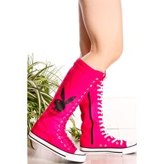 Pink laces canvas material knee high sneaker boot (42 PEN) ❤ liked on Polyvore featuring shoes and pinkblack