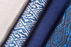 Soie de Lune Images from left to right Design: Fettuccia – Italian Silk in Cool Gray Design: Orchid, Chinese Blue on French Gray Design: Fettuccia – Italian Silk in Indigo Design: Orchid, Royal Blue on Ebony