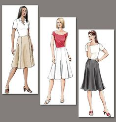 Misses' Skirt | Vogue Patterns | Loose-fitting, flared skirt, below mid-knee length has seam variations and back zipper closure. A, B: waistband. C: side front pockets. #sewing #skirt