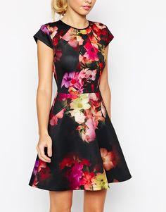 Ted Baker Skater Dress in Cascading Floral Print - vestito stampa floreale nero