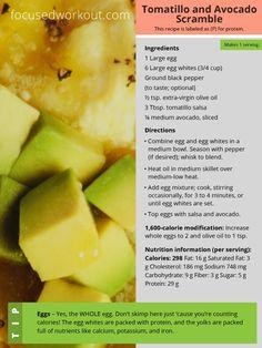 Focus T25 Diet Tomatillo and Avocado Scramble Recipe
